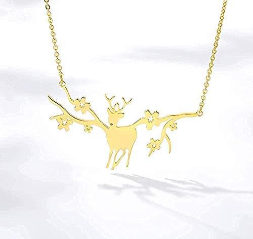 huangxuanchen co.,ltd Collar Simple Animal Cornamentas Ciervo Elk Collares Pendientes Charm Woodland Good Lucky Gargantilla Collar Collar