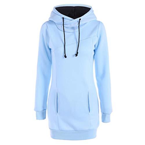 MORCHAN❤Femme Automne Hiver Manteau Veste à Capuche Hoodie Shirt Casual Jumper Sport Hauts Tops Pullover Blouse Blouson Sport Sweat Sweatshirt (FR-44/CN-M,Bleu Clair)