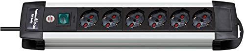 Brennenstuhl Premium aluminium Line stekkerdoos met veiligheidsschakelaar, kabel 3 m lang, aluminium stekkerdoos met 6 stopcontacten, voor stopcontacten met overspanningsbeveiliging