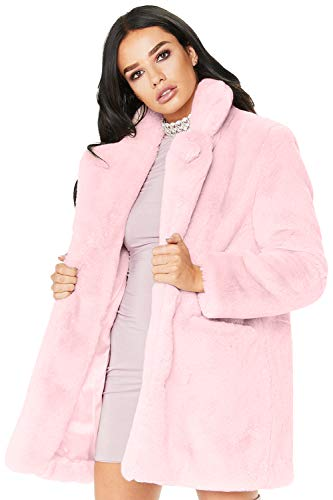 Zonsaoja Damen Kunstpelz Mantel Verdicken Pelzmantel Flaumig Warme Outwear Elegant Winter pink XL