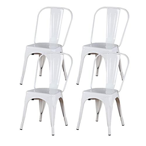 MUEBLES HOME - Juego de 4 sillas de comedor de metal, silla de cocina, apilable industrial vintage con respaldo alto para exterior interior, patio, cafetería y sillas bistro (blanco)