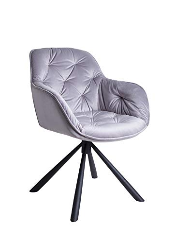 Meubletmoi stoel, draaibaar, velours, onderstel van metaal, modern design Hedendaagse Lichtgrijs