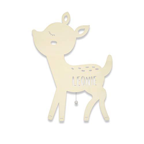 Nachtlicht, Schlummerlicht, Holz, Tauf-Geschenk mit Wunsch-Name für Mädchen oder Jungen, Reh-kitz, Bambi, Schlummerlicht, Babyzimmer, Nachtlichtlampe, Lampe, Stilllampe [Energieklasse A++]