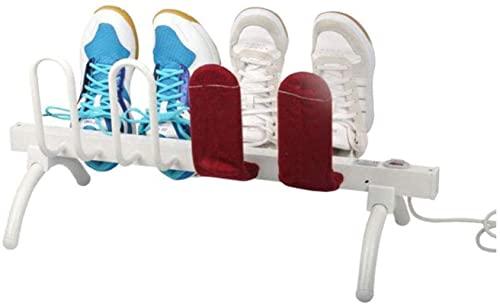 Secador de zapatos eléctrico, deshumidificador de zapatos o botas y colgador Secador de calentador de zapatos, que ahorra energía, es fácil de transportar, tendedero de secado (8 zapatos), blanco, bla