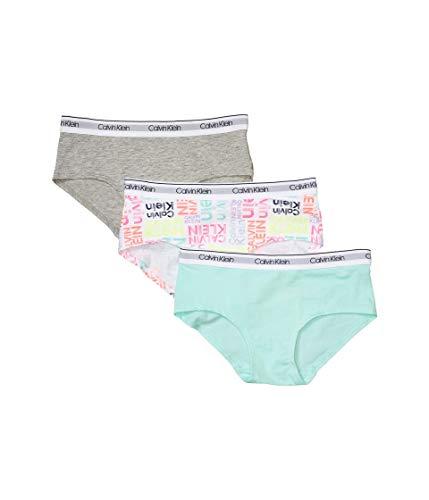 Calvin Klein Girls' Kids Modern Cotton Hipster Underwear, Multipack, 3 Pack - Heather Grey/Teal/Signature White, X-Large
