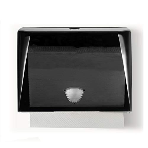 smile-bi Wall Mounted Tissue Box Hand N Fold Paper Holder Towel Dispenser Kitchen Toilet Public Places Accessories Button Opening,Transparent Black