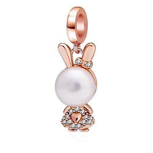 Soulbeads - Colgante de Conejo de Oro Rosa de Plata de Ley 925 con Perla de imitación para Pulsera Europea
