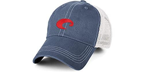 Costa Mesh Trucker Hat, Slate Blue + White