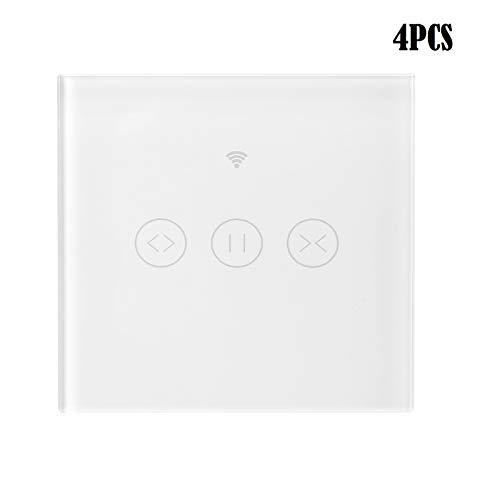 KKmoon 4PCS 433MHz Interruptor de Persiana WiFi, Interruptor de Cortina Táctil Tuya, Temporización, Control Remoto de App Android/iOS, Compatible con Alexa y Google Home