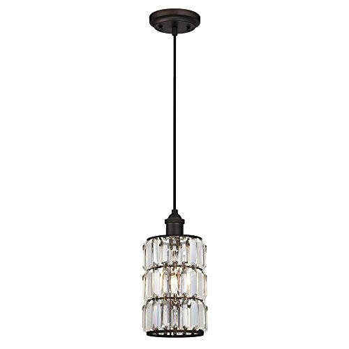 Westinghouse Lighting 6338400 Sophie One-Light Indoor Mini Pendant, Oil Rubbed Bronze Finish with Crystal Prism Glass,