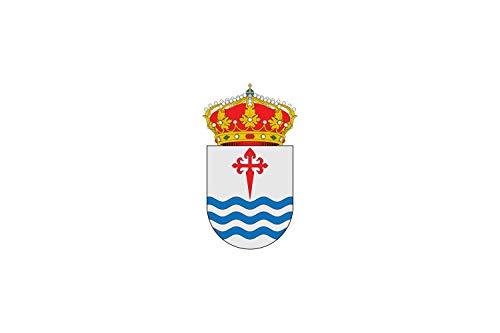 magFlags Bandera Large De paño Blanco llevará en un Lado el Escudo Heráldico de Villarrubio y en Otro Cargado en su Centro una Cruz de Santiago centrada en la Mitad Superior de la