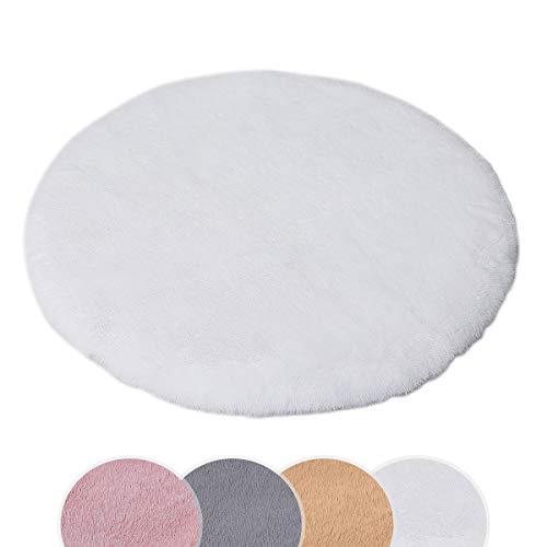 HEQUN Weicher Kunstkaninchenfell-Teppich|Kurzfell-Teppich Kunstfell Hasenfell Imitat | Lammfell-Teppich | Kunstfell Schaffell Imitat | Faux Bett-Vorleger oder Matte für Stuhl Sofa (Weiß, 90 x 90 cm)