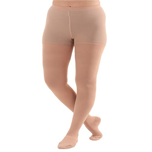 4XL Plus Size Compression Pantyhose, Opaque Graduated Support Hose Stockings - 20-30mmHg Graduated Medical Compression, Closed Toe – Absolute Support Brand, A204BE7 (Beige, XXXX-Large)