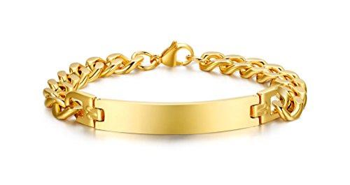 VNOX Damen Edelstahl Uni ID Link Armband Armreif mit gratis Gravur,Rose Gold,Breite 7 mm,21,3 cm (Goldfarben)