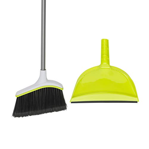 Casabella Basics Angled Set, Silver/Green, Broom with Dustpan