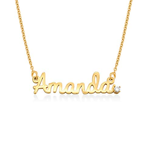 MyNameNecklace Personalized Cursive Name Necklace with Diamond in Sterling Silver 925 or Gold Plating - Custom Jewelry Gift for Her (18k Gold Plated Sterling Silver 925)
