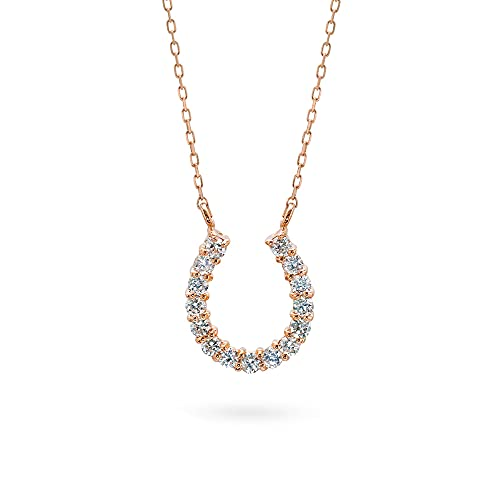 K18ピンクゴールド ネックレス ダイヤモンド 0.20ct ホースシュー 馬蹄 レディース ペンダント 18K 18金 華奢 上品 チェーン付き 長さ50cm