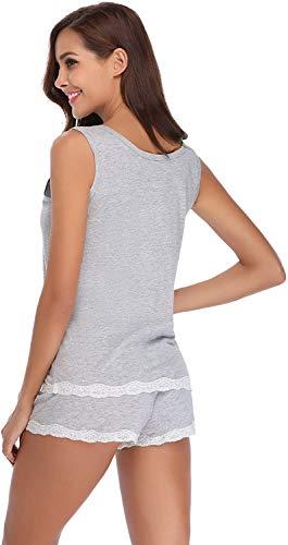 QIN.J.FANG-MY Conjunto de Pijama Corto para Mujer, Ropa de Dormir Suave de algodón de Manga Corta, Conjunto de Ropa de Dormir para el Verano