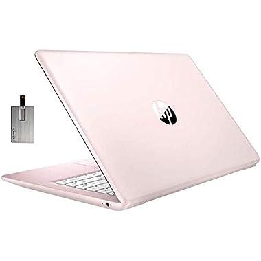 2021 HP Stream 14″ HD SVA Laptop Computer, Intel Celeron N4000 Processor, 4GB RAM, 64GB eMMC Flash Memory, Intel UHD Graphics 600, 1-Year Office, Bluetooth, Win 10S, Rose Pink, 32GB SnowBell USB Card
