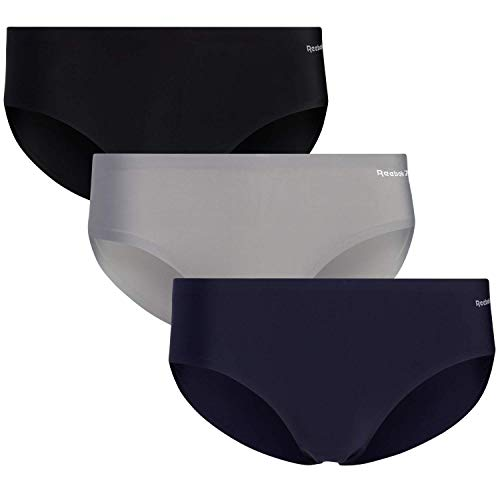 Reebok Women's Underwear - No-Show Hipster Panties (3 Pack), Size Large, Black/Navy/Grey