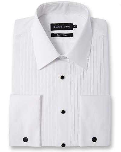 Double Two Men's White Stitch Pleat Evening Dress Shirt (Collar 16.5',White)