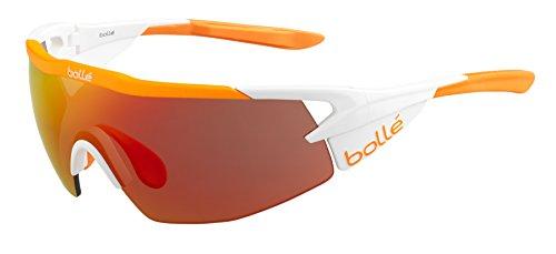 Bollé Aeromax Occhiali da Sole, Matte White/Arancione, M
