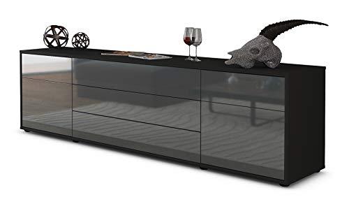 Stil.Zeit TV Schrank Lowboard Benita, Korpus in Anthrazit Matt/Front im Hochglanz-Design Grau Graphit (180x49x35cm), mit Push-to-Open Technik und Hochwertigen Leichtlaufschienen, Made in Germany
