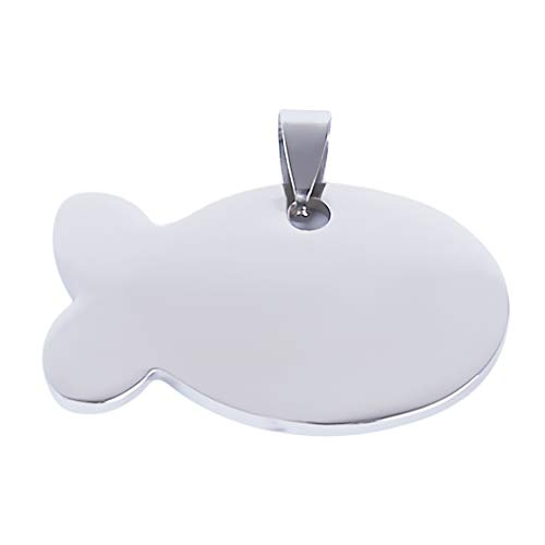 Meolin Personalized Fish Shape Dog ID Tag Stainless Steel for Small Dog Anti-lost Dog Tag Pet Name Phone number ID Tags,Silver