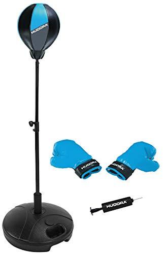 HUDORA Unisex– Erwachsene Punchingball mit Boxhandschuhen und Pumpe, blau, Einheitsgröße