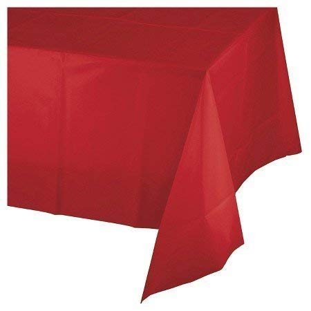 Mountclear 12-Pack Disposable Plastic Tablecloths 54' x 108' Rectangle Table Cover (RED)