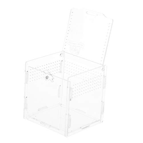 non-brand Scatole di Allevamento in Acrilico con Chiusura Magnetica Rettilari Feeder Box - Chiaro