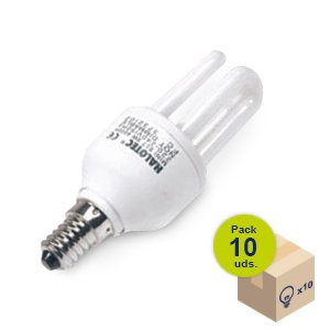 HALOTEC Pack 10 Bombillas Bajo Consumo CFL Mini rosca pequeña casquillo E14 230V 13W 4000 K color blanco neutro. Larga vida