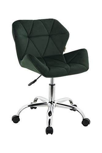 HNNHOME Modern Eris Padded Swivel Fabric Home Office Desk Computer Chair, Height Adjustable (Dark Green, Velvet)