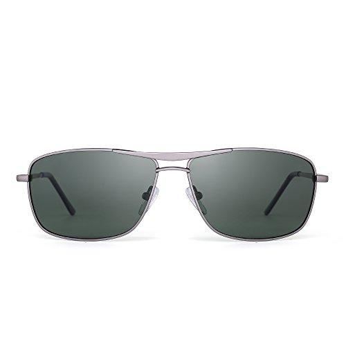JIM HALO Gafas de Sol Polarizadas Rectangulares Conducir Marco Con Bisagras de Resorte Peso Ligero Hombre Mujer G15