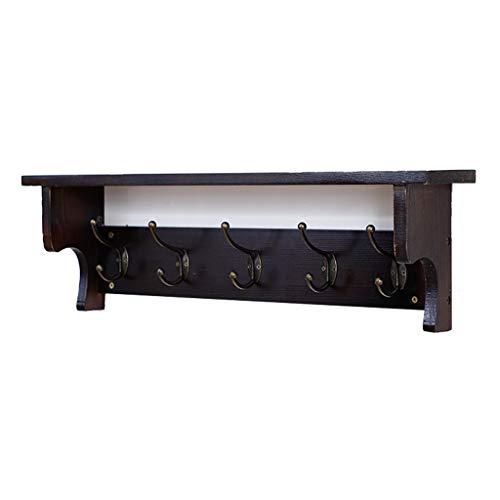 HHGO Houten wandgemonteerde kapstok, modern decoratief wandframe met opbergruimte en 5 metalen haken, multifunctionele deurdecoratie handdoekenrek, voor entree badkamer keuken