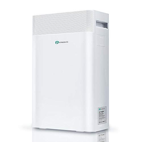 PureMate 5-en-1 Purificador de Aire e Ionizador con Filtro True HEPA, catalizador frío con Filtración de 5 Capas y Función de Temporizador,CADR 210m³,Captura alergias, Polvo, Polen, Humo, Olor