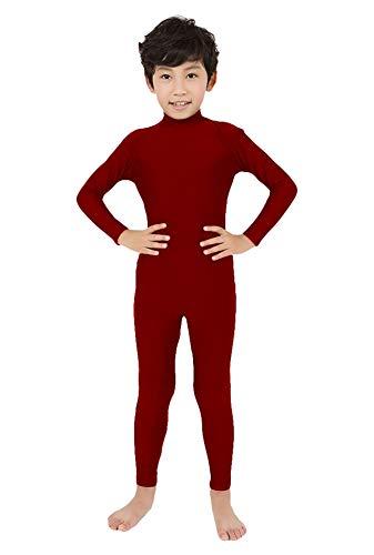 SK Studio Niño Disfraz de Segunda Rocío Pie Mano Abierta Traje Leotardo Corporal de Licra Body Rojo Wine M