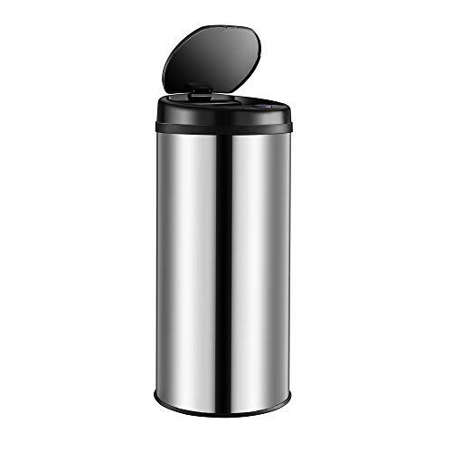 Deuba Cubo de Basura automático con Sensor Capacidad de 30L de Acero Inoxidable Color Plata Pantalla LED Reciclaje Cocina