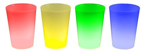 4er Set Knicklicht Becher Knick Leuchtbecher, Cocktailbecher, Trinkbecher 350 ml gemischt (grün, blau, rot, gelb) Trinkglas Cocktailglas beleuchtet