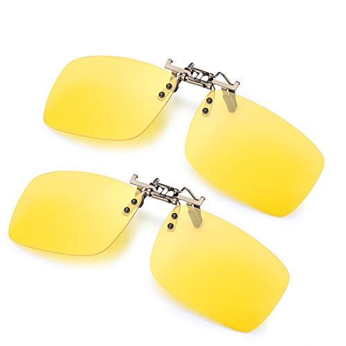 ELIVWR 2-Stück, Herren Rectangle Sonnenbrillen-Clip Polarisierte für Brillenträger/Nachtsichtbrille Autofahren für Brillenträger 100{266ba81104a19f349fab38d2a6c3d13e79eeeeeb65e06b6925bf0bb990edfde2} Schutz vor Schädlichen UVA/UVB Strahlen (Gelb+Gelb, 59 * 41)