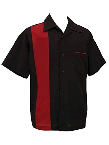 Steady Pop Check Single Panel Button Up in Black Red Bowling Shirt Retro (3XL)