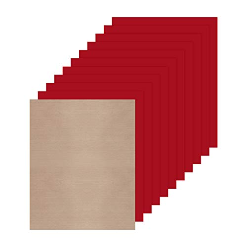 JANDJPACKAGING Red Heat Transfer Vinyl HTV for T-Shirts,10 Pack 12 x 10 Sheets for Iron On T Shirts - for Silhouette Cameo Or Cricut - Heat Press Machine