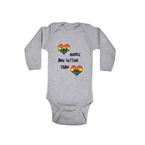 Boy & Girl Baby Bodysuit Long Sleeve 2 Moms are Better Than 1 Cotton Baby Clothes Oxford Gray 6 Months