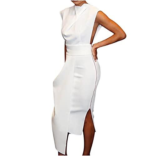 Womens Summer Dresses, Women Sleeveless Side Zipper Slit Irregular Dress Casual Solid Color Maxi Dress White