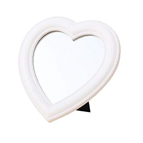NaiCasy Espejo de Maquillaje Espejo de bao Escritorio de la Forma del corazn del Espejo cosmtico del Espejo por Mujeres de Las seoras nias Blancas
