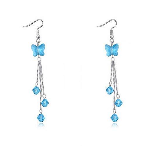 O&YQ Pendientes de Cristal Mariposa Sueño Dulce Borla Pendientes DIY Oreja Joyería, mar Azul