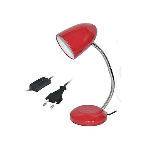 Lámpara de Escritorio, Flexo Escritorio, Cable con Interruptor, Lámpara de Mesa para Estudiantes y Oficinas (Rojo)