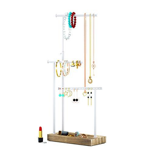 Schmuckständer Schmuckhalter Kettenhalter - 3 Stäbe drehbar (51cm), Holz Schmuckbaum Kettenständer Uhrenständer Schmuckaufbewahrung für Ketten, Ohrringen, Ringen, Uhren und Armbändern (Dunkelholz)