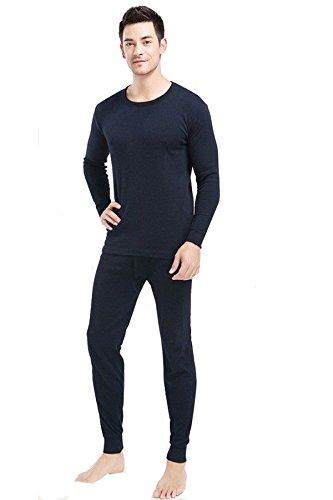 Elegance 2pc Thermique 100% Pur Coton pour Hommes (240 GSM) Haut à Manches Longues et à Long John Ensemble Navy (Ref:1190 & 1290) (L, Navy)