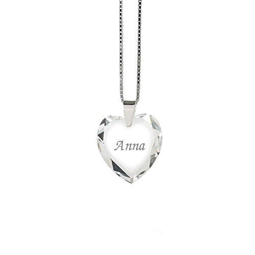 Halskette 925 Sterling Silber mit SWAROVSKI ELEMENTS Herz und individueller Namensgravur